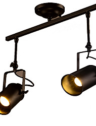 cheap -Vintage Track Lights Black Painted Metal Matte Spot Lights for Dining Shops Office Room Warm White Cold White 2 pcs LED 5W Bulb Included
