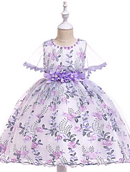 cheap -Kids Toddler Girls' Active Cute Floral Color Block Plaid Lace Bow Layered Short Sleeve Knee-length Dress Purple