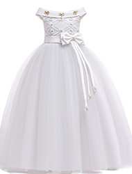 cheap -Kids Toddler Girls' Active Cute Solid Colored Christmas Bow Layered Pleated Sleeveless Maxi Dress White
