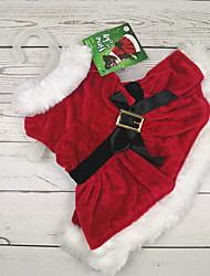 abordables -Chien Chat Animaux de Compagnie Costume Robe Hiver Vêtements pour Chien Rouge Costume Polyester Couleur Pleine Nœud papillon Cosplay Noël XXS XS S M L