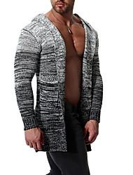 cheap -Men's Color Block Long Sleeve Cardigan Sweater Jumper, Hooded Gray US32 / UK32 / EU40 / US34 / UK34 / EU42 / US36 / UK36 / EU44