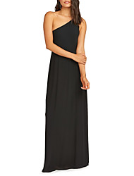 cheap -A-Line One Shoulder Floor Length Chiffon Bridesmaid Dress with