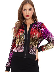 cheap -Women's Daily Regular Jacket, Color Block Stand Long Sleeve Polyester Rainbow