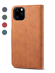 cheap -Case For Apple iPhone 11 / iPhone 11 Pro / iPhone 11 Pro Max Card Holder / Magnetic / Auto Sleep / Wake Up Full Body Cases Solid Colored PU Leather / TPU