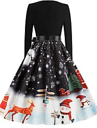 cheap -Women's Black Dress Vintage Christmas Party New Year Swing Floral Patchwork S M Slim