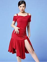 cheap -Latin Dance Outfits Women's Training / Performance Milk Fiber Pleats / Split Short Sleeve Natural Skirts / Top