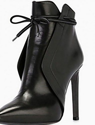 cheap -Women's Boots Stiletto Heel Square Toe PU Booties / Ankle Boots Fall & Winter Black