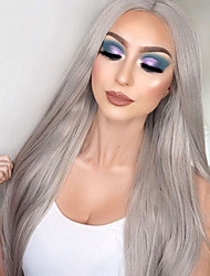cheap -Hair Care Synthetic Lace Front Wig Synthetic Extentions Silky Straight Middle Part Lace Front Wig Long Grey Synthetic Hair 18-24 inch Women's Soft Adjustable Synthetic Gray