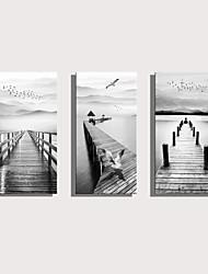 cheap -Print Rolled Canvas Prints Stretched Canvas Prints - Landscape Nautical Modern Three Panels Art Prints