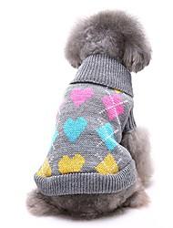 abordables -Chiens Pull Hiver Vêtements pour Chien Noir Gris Costume Corgi Beagle Shiba Inu Fibres acryliques Amour Décontracté / Quotidien XS S M L XL XXL