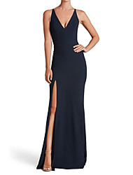 cheap -Sheath / Column V Neck Floor Length Jersey Furcal Formal Evening Dress 2020 with Split Front