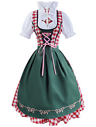 cheap -Maid Costume Flapper Girl Dress Masquerade Costume Adults' Women's Party / Evening Halloween Party Special Occasion Halloween Halloween Oktoberfest Beer Festival / Holiday Silk / Cotton Blend Rainbow