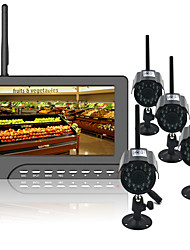 cheap -7 Inch Tft Digital 2.4g Wireless Night Vision 3.6mm Wide Angle Len Cameras Audio Video Baby Monitors 4ch Quad Dvr Security System With Ir Night Light Four Cameras