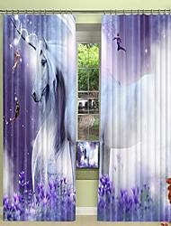 cheap -Purple Fantasy Elf and White Horse Digital Printing 3D Curtain Shading Curtain High Precision Black Silk Fabric High Quality Curtain