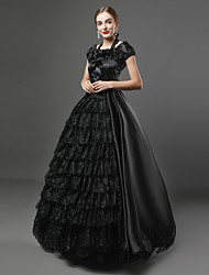cheap -Gothic Victorian Medieval 18th Century Dress Party Costume Masquerade Women's Lace Satin Costume Black Vintage Cosplay Sleeveless Floor Length Plus Size Customized