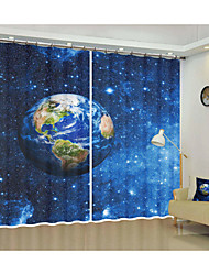 cheap -Space Fabric Decoration Earth Digital Printing 3d Curtain Shading Curtain High Precision Black Silk Fabric High Quality First Grade Shading Bedroom Living Room Curtain