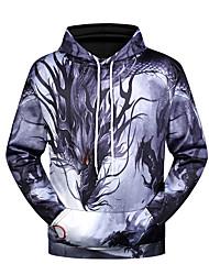 cheap -Men's Casual / Halloween Hoodie - 3D / Tie Dye Hooded Black US36 / UK36 / EU44