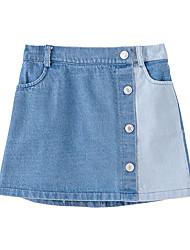 cheap -Kids Girls' Basic Street chic Color Block Hole Skirt Light Blue