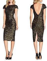 cheap -The Great Gatsby Retro Vintage 1920s Open Back Flapper Dress Masquerade Women's Sequins Sequin Costume Black Vintage Cosplay Party Halloween Short Sleeve