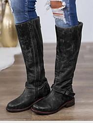 cheap -Women's Boots Knee High Boots Flat Heel Round Toe PU Knee High Boots Winter Black / Dark Brown