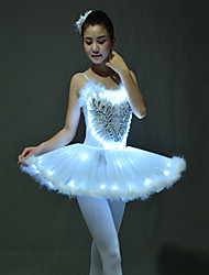 cheap -Ballet Dancer Swan Lake LED Layered Dress Tutu Bubble Skirt Under Skirt Women's Girls' Kid's Tulle Cotton Costume White / Purple / Green Vintage Cosplay Sleeveless Short Length