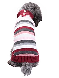 cheap -Dog Sweater Puppy Clothes Stripes Patchwork Stripes Winter Dog Clothes Puppy Clothes Dog Outfits Rainbow Costume for Girl and Boy Dog Acrylic Fibers XXS XS S M L XL