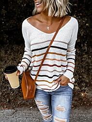 cheap -Women's Striped Long Sleeve Loose Pullover Sweater Jumper, V Neck Black / White / Blue S / M / L