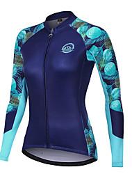 abordables -Nuckily Femme Maillot Velo Cyclisme Vélo Vêtements de moto Polaire d'hiver Chaud Des sports Floral Botanique Fleurs tropicales Toison Elasthanne Hiver Bleu Marine VTT Vélo tout terrain Vêtement Tenue