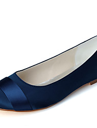 cheap -Women's Wedding Shoes Flat Heel Round Toe Satin Minimalism Fall / Spring & Summer Black / White / Purple / Party & Evening
