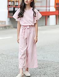 cheap -Kids Girls' Basic Boho School Daily Wear Striped Lace up Short Sleeve Regular Regular Clothing Set Blushing Pink