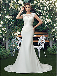 cheap -Mermaid / Trumpet Wedding Dresses Bateau Neck Chapel Train Lace Tulle Stretch Satin Short Sleeve Romantic Illusion Detail with Appliques 2021