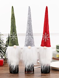 cheap -3pcs Christmas Champagne Wine Cover Bottle Plush Hat Bottle Set Santa Family Party Table Decoration Christmas Gifts