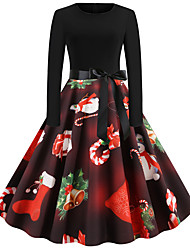cheap -Women's Christmas Party Daily Wear Basic A Line Dress - Solid Colored Red S M L XL