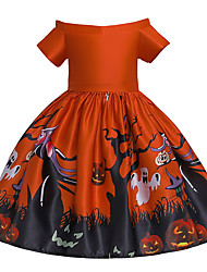 cheap -Kids Toddler Girls' Active Cute Floral Color Block Halloween Pleated Lace up Print Sleeveless Knee-length Dress Red