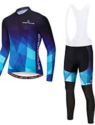 cheap -EVERVOLVE Men's Long Sleeve Cycling Jersey with Bib Tights Red and White Red+Black Blue / Black Gradient Bike Clothing Suit Quick Dry Sweat-wicking Winter Sports Lycra Gradient Mountain Bike MTB Road