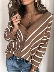 cheap -Women's Striped Long Sleeve Cardigan Sweater Jumper, Deep V Blue / Red / Green S / M / L