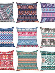 cheap -9 pcs Linen Pillow Cover, Geometric Lines / Waves Fashion Boho Throw Pillow