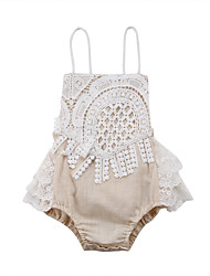 cheap -Baby Girls' Active Solid Colored Lace / Lace up Sleeveless Bodysuit Beige