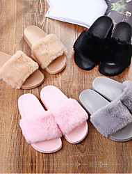 cheap -Women's Slippers / Girls' Slippers Slide Slippers / Guest Slippers / House Slippers Casual Faux Fur solid color Shoes