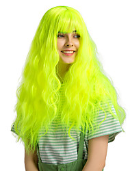 cheap -Synthetic Wig Bangs Curly Water Wave Side Part Neat Bang With Bangs Wig Medium Length fluorescent green Synthetic Hair 26 inch Women's Cosplay Party Women Green HAIR CUBE