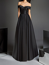 cheap -A-Line Off Shoulder Floor Length Satin Minimalist / Black Prom / Formal Evening Dress with Criss Cross / Pleats 2020