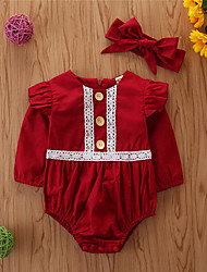 cheap -Baby Girls' Basic Solid Colored / Christmas Long Sleeve Cotton Romper Wine