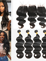 cheap -4 Bundles With Closure Peruvian Hair Body Wave Remy Human Hair Human Hair Extensions Hair Weft with Closure 8-26 inch Natural Human Hair Weaves Soft Best Quality New Arrival Human Hair Extensions
