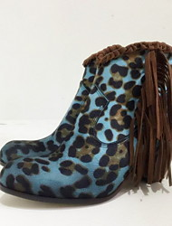 cheap -Women's Boots Print Shoes Chunky Heel Round Toe PU Booties / Ankle Boots Fall & Winter Yellow / Green / Blue / Leopard