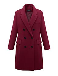 cheap -Women's Solid Colored Fall & Winter Notch lapel collar Coat Long Daily Long Sleeve Wool Blend Coat Tops Black