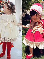 cheap -Baby Girls' Boho White Red Solid Colored Christmas Lace Bow Long Sleeve Dress White / Toddler