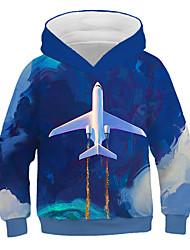 abordables -Enfants Garçon Basique Imprimé 3D Imprimé Manches Longues Pull à capuche & Sweatshirt Bleu