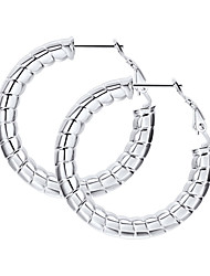 cheap -Women's Ear Piercing Hoop Earrings Geometrical Twist Circle Statement Fashion Stainless Steel Earrings Jewelry Black / Gold / Silver For Party Gift Daily Festival 1 Pair
