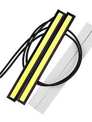 abordables -2pcs 17cm drl cob led conduite diurnes bande drl bar aluminium bande panneau voiture feux de travail 12v cob led