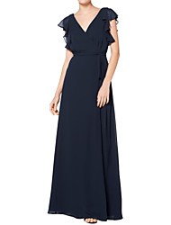 cheap -A-Line V Neck Floor Length Chiffon Bridesmaid Dress with Ruffles